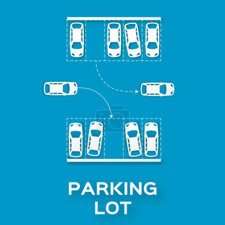 Illustration pour Top View Conception de stationnement - - découpé à partir du concept de papier. Beaucoup de voitures garées. Illustration vectorielle - eps10 - image libre de droit