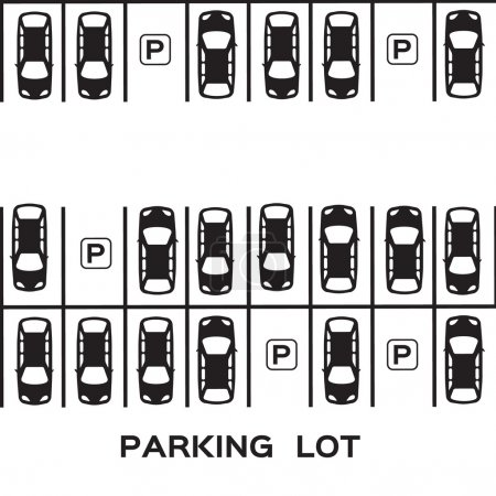 Illustration pour Vue du dessus Conception de stationnement. Beaucoup de voitures garées. Illustration vectorielle . - image libre de droit