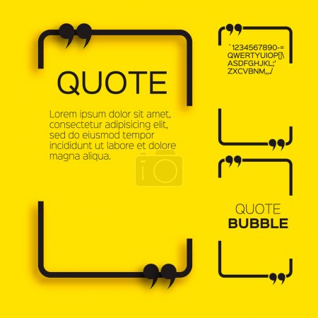 Illustration for Quote bubble. Empty Citation text box template. Quote blank. - Royalty Free Image