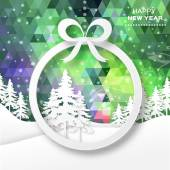 View of white mountains on polygonal background with christmas trees and ball frame Mountain landscape Paper cut style