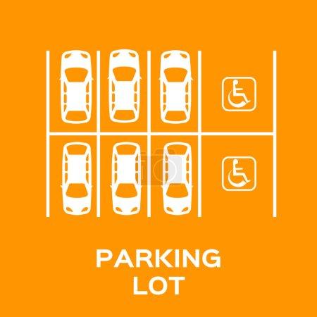 Illustration pour Vue du dessus Conception de stationnement avec fauteuil roulant signe place de stationnement. Beaucoup de voitures garées. Illustration vectorielle . - image libre de droit
