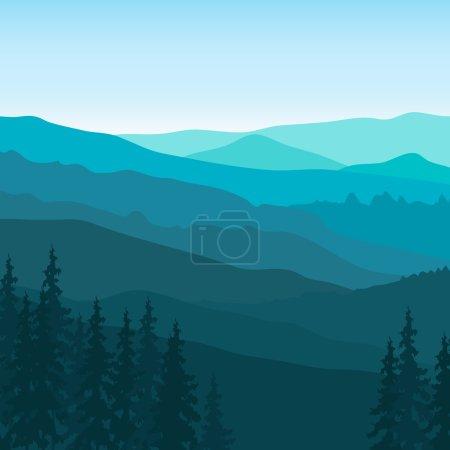 Illustration pour Vue sur les montagnes bleues avec forêt. Paysage de montagne . - image libre de droit