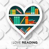 Bookshelves in the form of heart with colorful books
