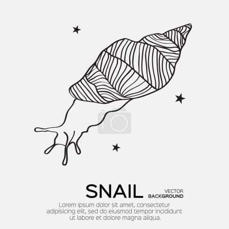 Monochrome silhouette of snail drawing outline