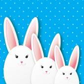 Greeting card with Happy Easter - with white Easter rabbit Spring Funny Bunny Easter Bunny Easter Egg