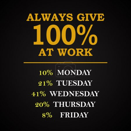 Illustration for Always 100% at work - funny inscription template - Royalty Free Image