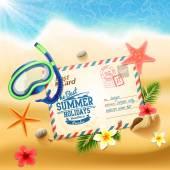 Summer post card on sandy beach