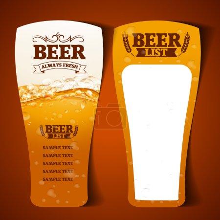 Illustration pour Bière liste verre vecteur - image libre de droit