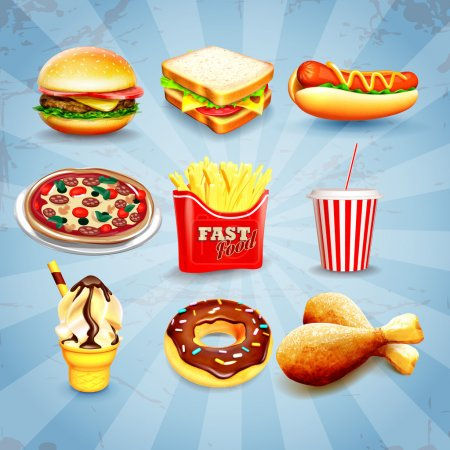 Illustration for Fast food icons, vector - Royalty Free Image