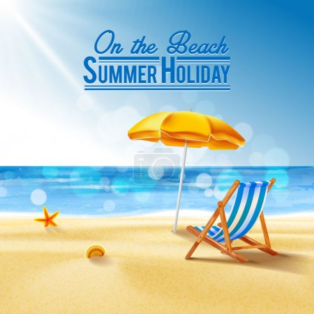 Illustration for On the beach, summer holiday background - Royalty Free Image
