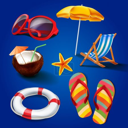 summer icons illustration