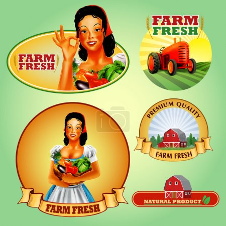 Illustration for Stickers farm  backgrounds,vector - Royalty Free Image
