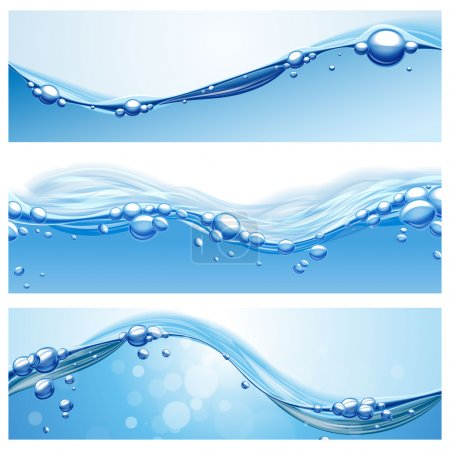 Illustration for Fresh waves water banners - Royalty Free Image