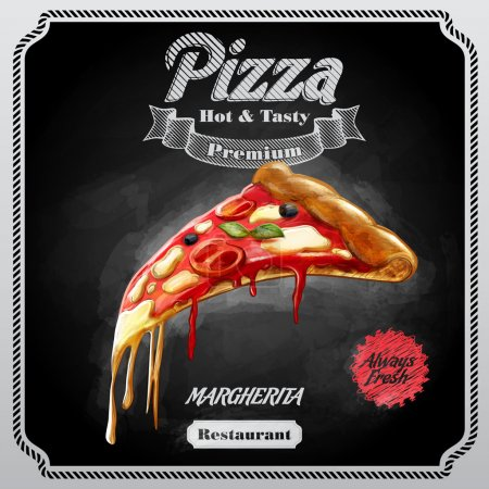 Illustration pour Pizza margherita fond alimentaire - image libre de droit