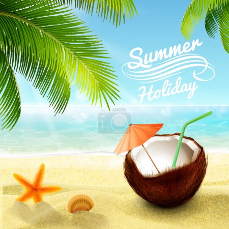 Illustration for Summer beach relax background - Royalty Free Image