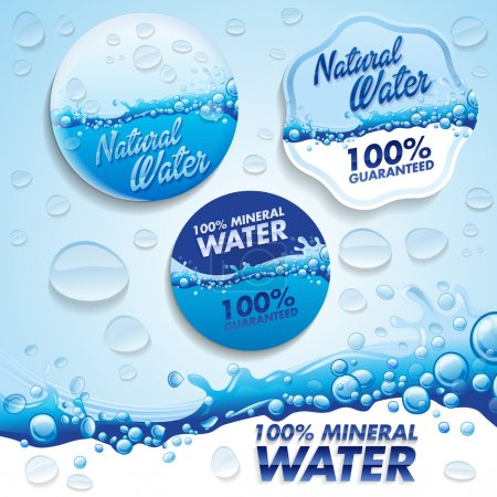 Illustration for Fresh water labels on background - Royalty Free Image