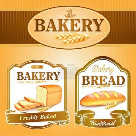 Illustration pour Bannières de boulangerie traditionnelles, illustration vectorielle - image libre de droit