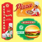 Fast food menu banners- vector illustration