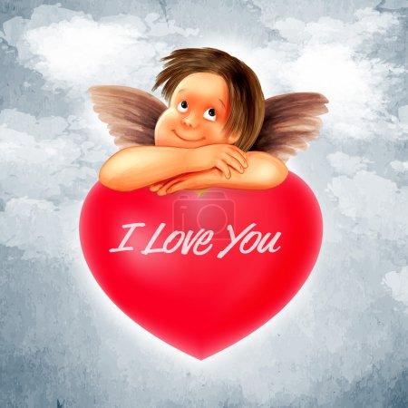 Illustration pour Jolie illustration Cupidon pour la Saint-Valentin. - image libre de droit