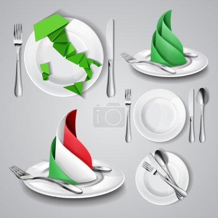 Illustration pour Coutellerie : couteau et fourchette, cuillère, plaque. Sur le fond. Illustration vectorielle - image libre de droit