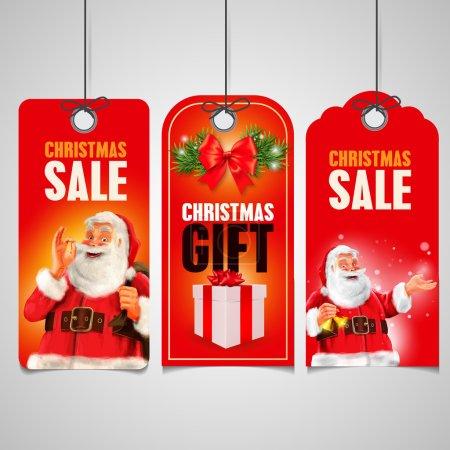 Ilustración de Venta de Navidad etiquetas en signos de Navidad. ilustración vectorial - Imagen libre de derechos
