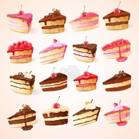 Illustration pour Savoureux gâteaux icônes sur fond - image libre de droit