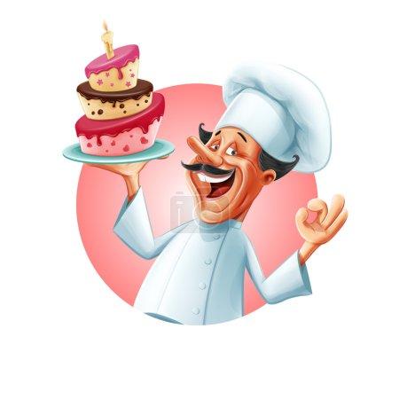 Illustration pour Chef de boulangerie avec gâteau - image libre de droit