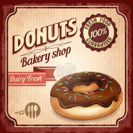 Illustration for Donuts vintage vector background - Royalty Free Image