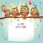 Happy birthday card with cute owls on branch
