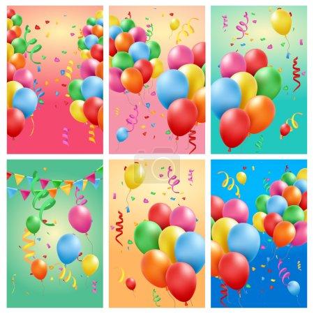 Set of birthday backgrounds