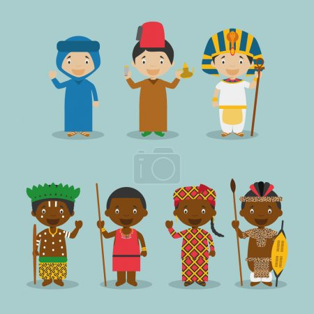 Kids and nationalities of the world vector: Africa Set 2.