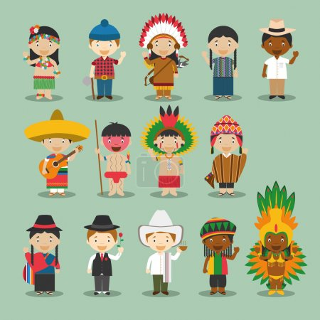 Kids and nationalities of the world vector: America Set 4.