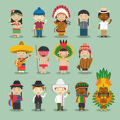 Kids and nationalities of the world vector: America Set 4