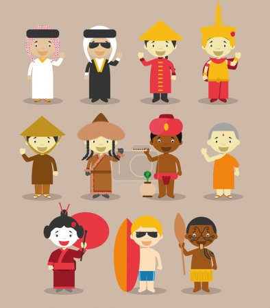 Kids and nationalities of the world vector: Asia and Oceania/Australia Set 3.