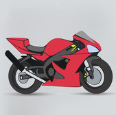 Red motorcycle isolated on a gray background