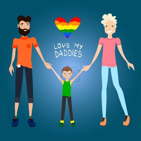 Gay Family Vector Illustration