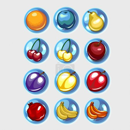 Twelve icons of fruit, bananas, apples and other