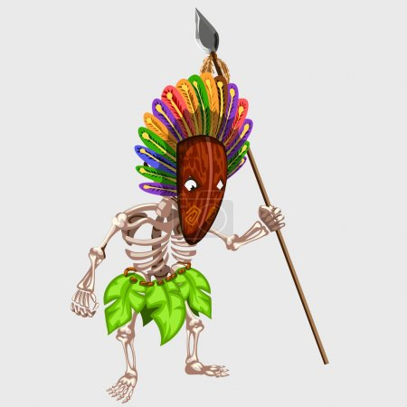 Skeleton in Indian mask with spear