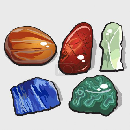 Set of five cartoon vector stones and minerals