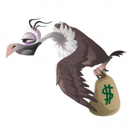 Cartoon vulture carries bag with money dollar