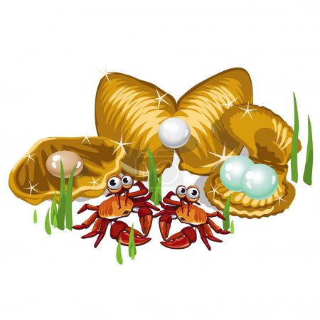 Illustration for Three Gold shells with white, beige pearls and crabs - Royalty Free Image