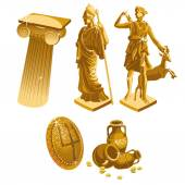 Greek Golden statues column shield and jugs