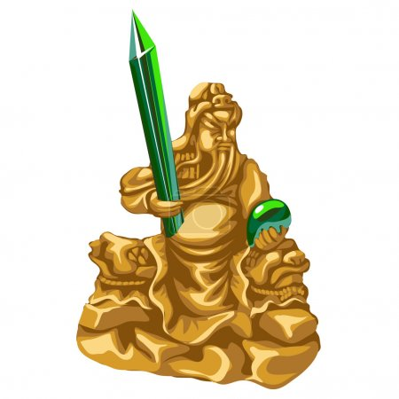 olden statue of Poseidon with emerald spear