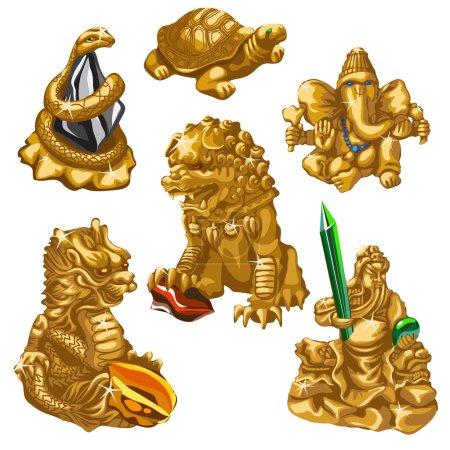 Illustration pour Dragon, serpent, Poséidon et autres symboles de culte, six figures d'or dans le même style - image libre de droit