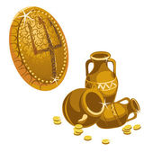 Jugs, gold coins and shield with a Trident