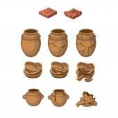Set of earthenware jugs and plates, whole, broken