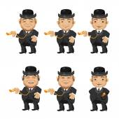 Six men in suits providing the residents in 1870 vector characters