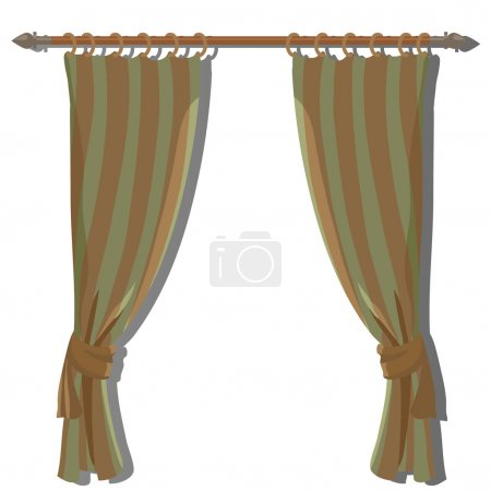 Green striped kitchen curtains on the ledge