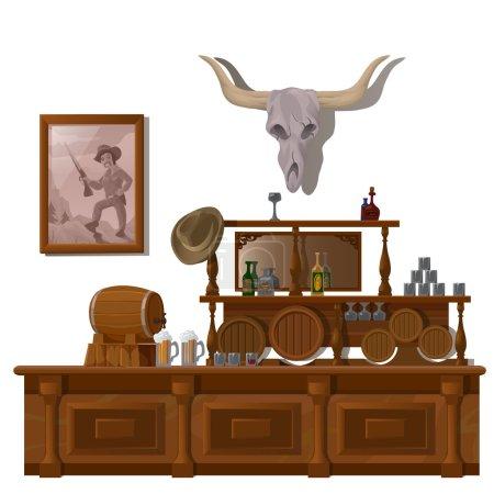 Illustration pour Bar à l'occidentale sauvage, avec crâne de taureau, tonneaux de bière et bouteilles d'alcool - image libre de droit