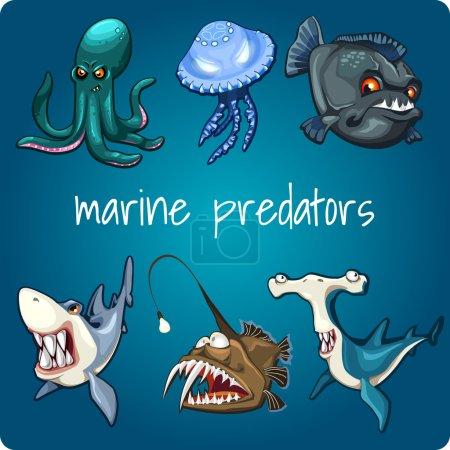 Marine predators: shark, piranha and other